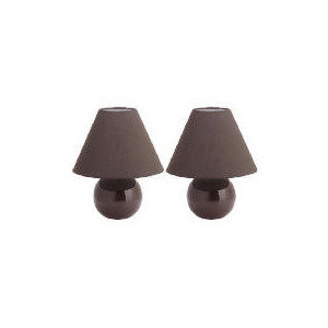 Photo of Tesco Pair Of Sphere Ceramic Table Lamps, Chocolate Lighting