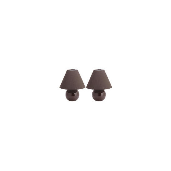 Tesco Pair of Sphere Ceramic Table Lamps, Chocolate