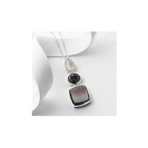 Photo of Silver Mother Of Pearl and Black Cubic Zirconia Pendant Jewellery Woman