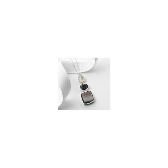 Silver Mother of Pearl and Black Cubic Zirconia Pendant
