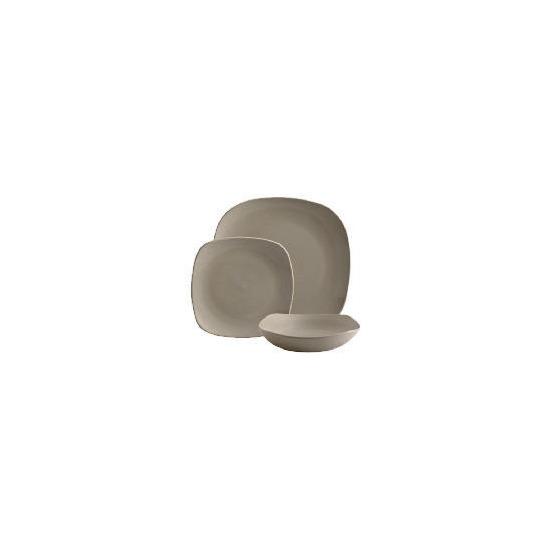 Tesco Mono square Dinnerware Set 12 piece, Stone
