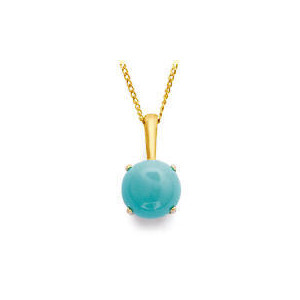 Photo of 9CT Gold Turquoise Pendant Jewellery Woman