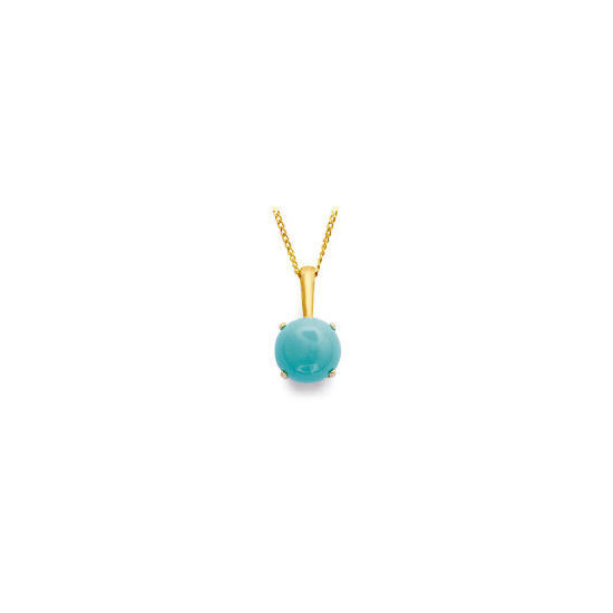 9ct Gold Turquoise Pendant