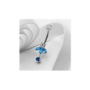 Photo of Stainless Steel Blue and White Fancy Belly Bar Jewellery Woman