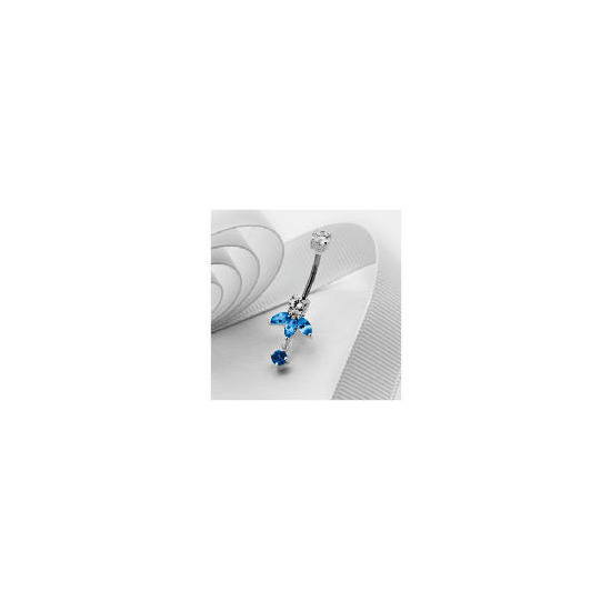 Stainless Steel Blue and White Fancy Belly Bar