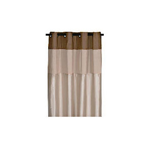 Photo of Pair Of Treble Faux Silk Lined Eyelet, Natural Curtain