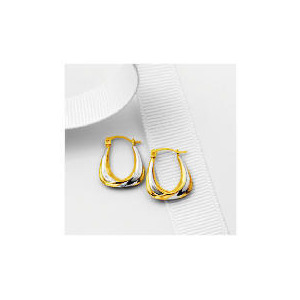 Photo of 9CT 2 Colour Gold Small Handbag Shaped Hoops Jewellery Woman