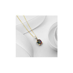 Photo of 9CT Gold Mystic Topaz and Diamond Pendant Jewellery Woman