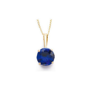Photo of 9CT Gold Created Sapphire Pendant Jewellery Woman
