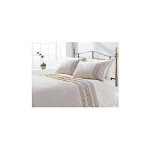 Photo of Tesco Linen Pintuck Duvet Set Double, Stone Bed Linen