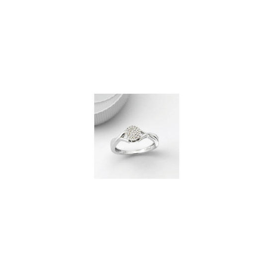 9ct White Gold Invisible Set Ring - L