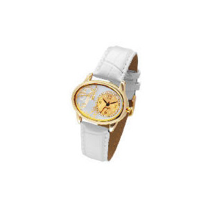 Photo of Pineapple Gold Oval Case White Strap Watch Watches Man