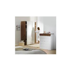 Photo of Mugello 6 Drawer Chest, White/Dark Walnut Finish Furniture