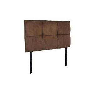 Photo of Mayfair Double Headboard, Mocca Faux Suede Bedding