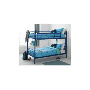 Photo of Mika Metal Twin Bunk Bed, Navy Bedding