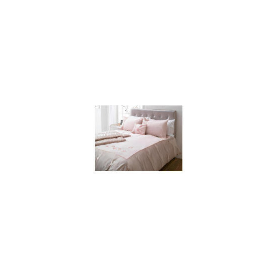 Tesco Amiee Embroidered Duvet Set Double, Pink