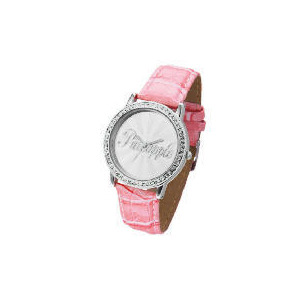 Photo of Pineapple Diamonte Case Pink Strap Logo Face Watch Jewellery Woman