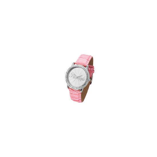 Pineapple Diamonte Case Pink Strap Logo Face Watch
