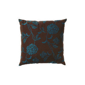 Photo of Tesco Bold Floral Cushion, Teal & Chocolate Cushions and Throw