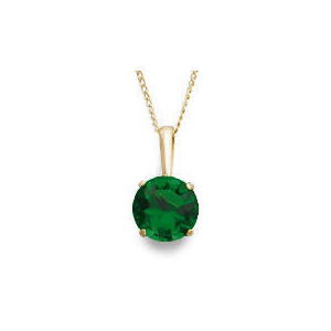 Photo of 9CT Gold Created Emerald Pendant Jewellery Woman