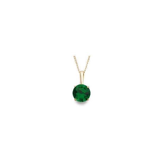 9ct Gold Created Emerald Pendant