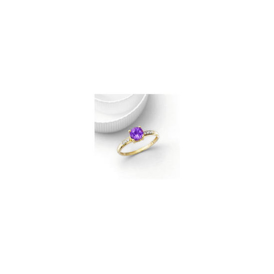 9ct Gold Amethyst and Diamond Ring, L