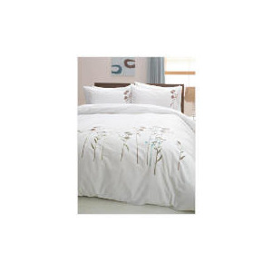 Photo of Tesco Wild Flowers Embroidered Duvet Set Kingsize, White Bed Linen