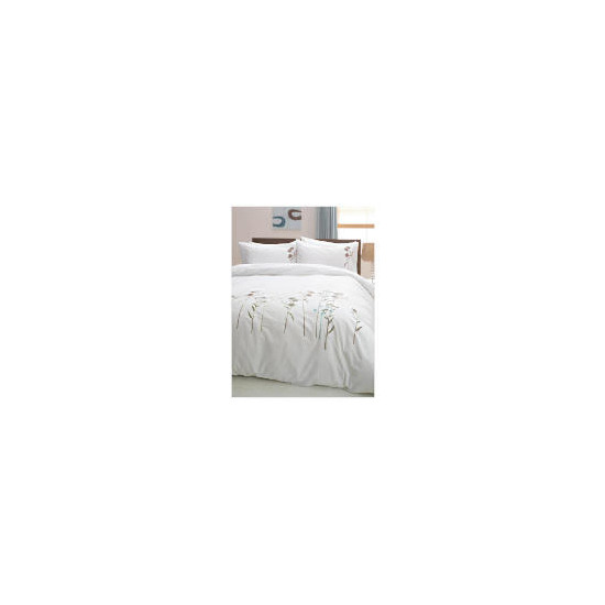 Tesco Wild Flowers Embroidered Duvet Set Kingsize, White