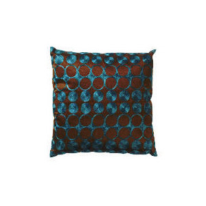 Photo of Tesco Embroidered Spot Cushion Teal & Chocolate, Carrie Cushions and Throw