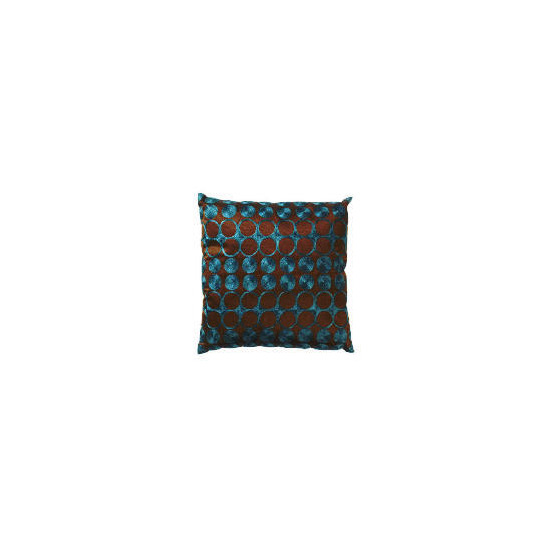 Tesco Embroidered Spot Cushion Teal & Chocolate, Carrie