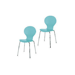 Photo of Pair Of Bistro Stacking Chairs, Aqua Furniture