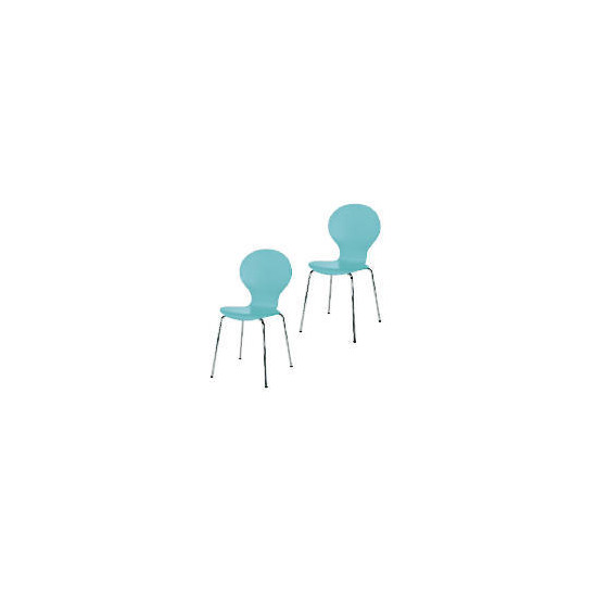 Pair of Bistro Stacking Chairs, Aqua