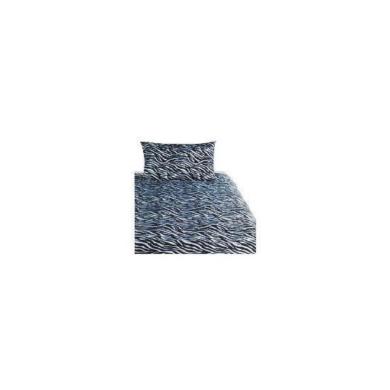 Tesco Zebra Print Duvet Set Single, Black