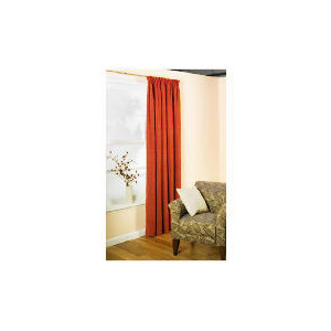 Photo of Pair Of Tesco Chenille Lined Pencil Pleat Curtain 163 X 137 Terracotta Curtain