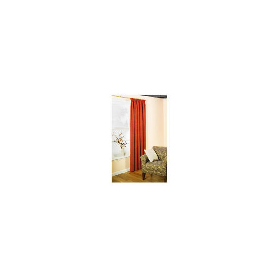 Pair of Tesco Chenille Lined Pencil Pleat Curtain 163 x 137 Terracotta
