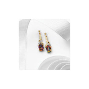 Photo of 9CT Gold Mystic Topaz and Diamond Earrings Jewellery Woman