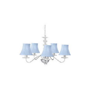 Photo of Twisted Shade Chandelier, Blue Lighting