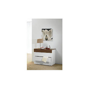 Photo of Mugello 4 Drawer Chest, White/Dark Walnut Finish Furniture