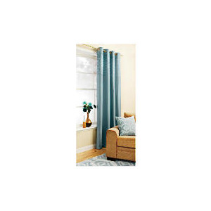 Photo of Pair Of New Lined Ogee Jacquard Pencil Pleat 163X229 Duck Egg Curtain