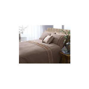 Photo of Finest Cocoa Pintuck With Biscuit Ribbon, Double Bed Linen