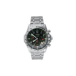 Photo of Jeep Mens Black Face Chronograph Silver Bracelet Watch Watches Man
