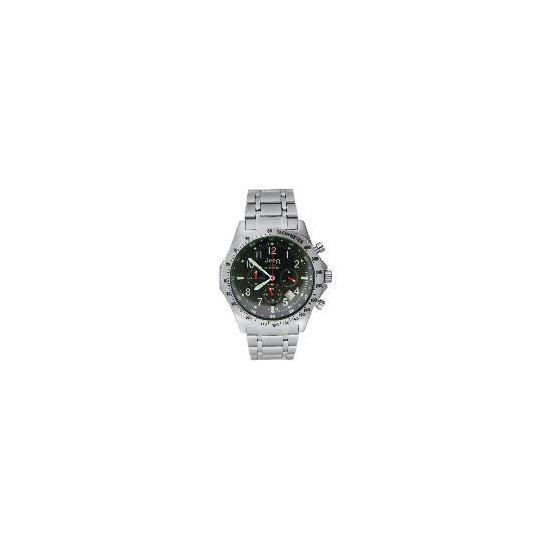 Jeep Mens Black Face Chronograph Silver Bracelet Watch