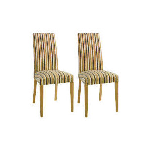 Photo of Special Edition Pair Of Lucca High Back Upholstered Chairs, Charcoal Stripe With Oak Legs Furniture