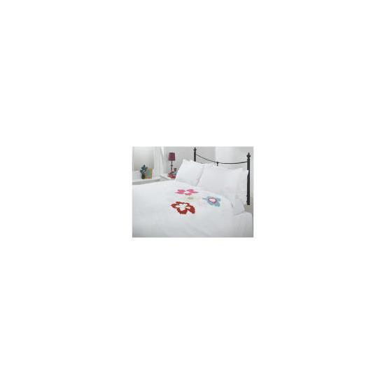 Tesco Tropical Applique Duvet Set Kingsize, White