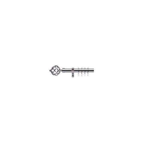 Premium Extendable Metal Pole 25-28mm 120-210cm Round Cage Final Satin Steel
