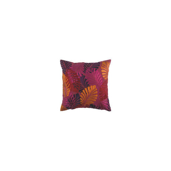 Tesco Bold Leaf Embroidered Cushion, Jasmine