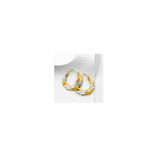 9ct Gold Crystal Encrusted Hexagonal Hoops