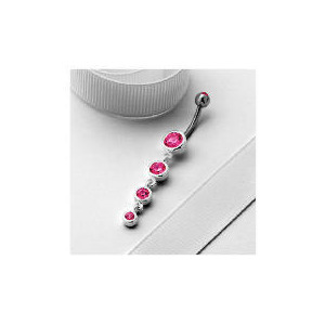 Photo of Stainless Steel Pink Cubic Zirconia Drop Belly Bar Jewellery Woman