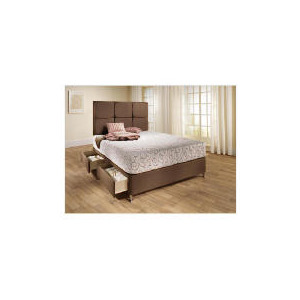 Photo of Mayfair King 4 DRW Divan Base, Mocca Faux Suede Bedding