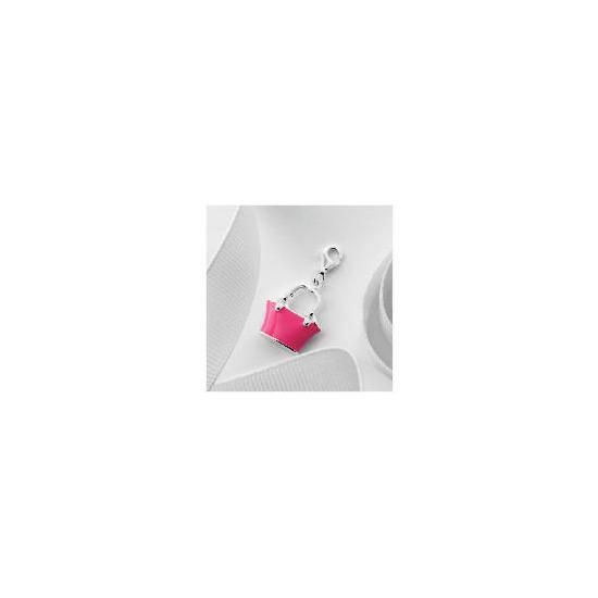 Silver Pink Enamel Handbag Charm